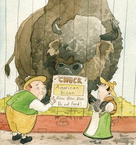 Vaudois et bison